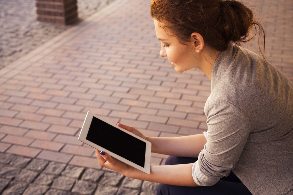 tablette, ordinateur, femme