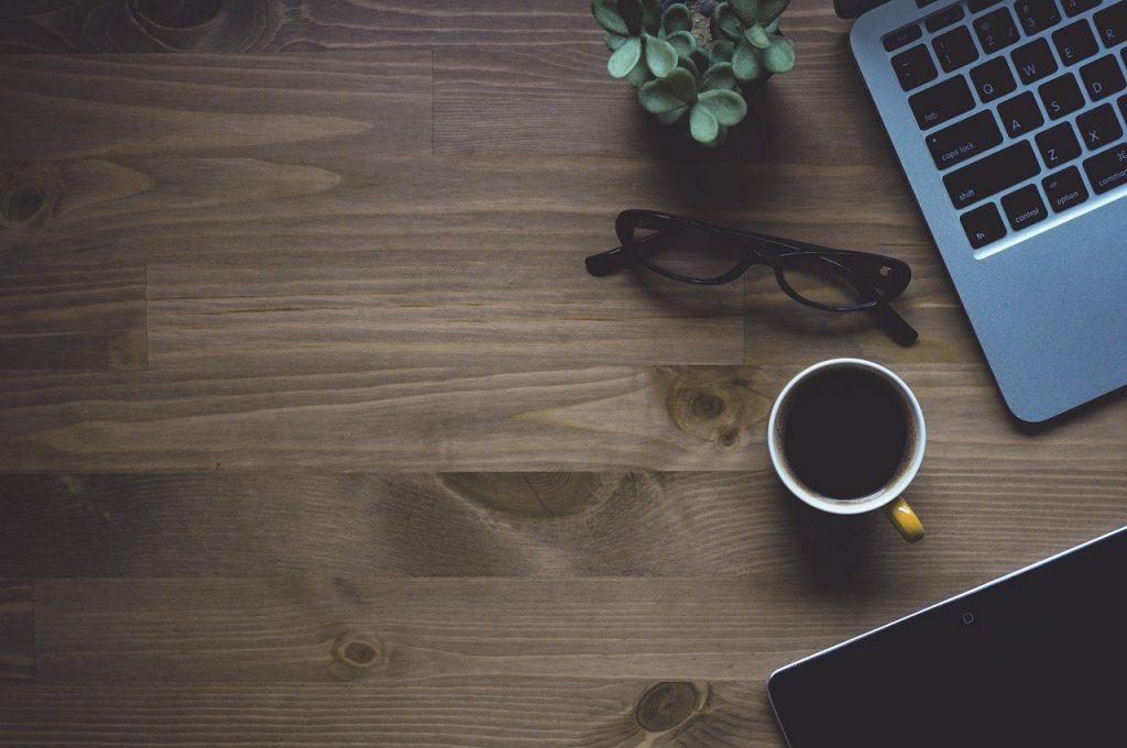 espace de travail, café, portable