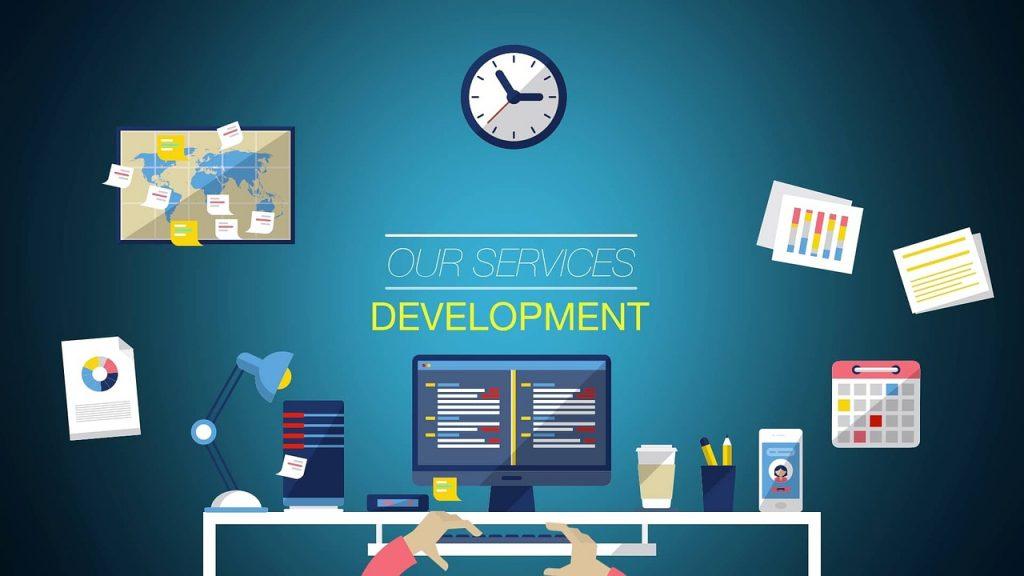 ordinateur, bureau, développement
