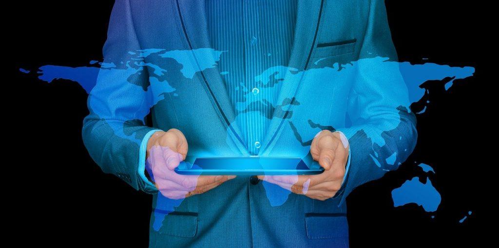 homme d'affaires, l'internet, continents