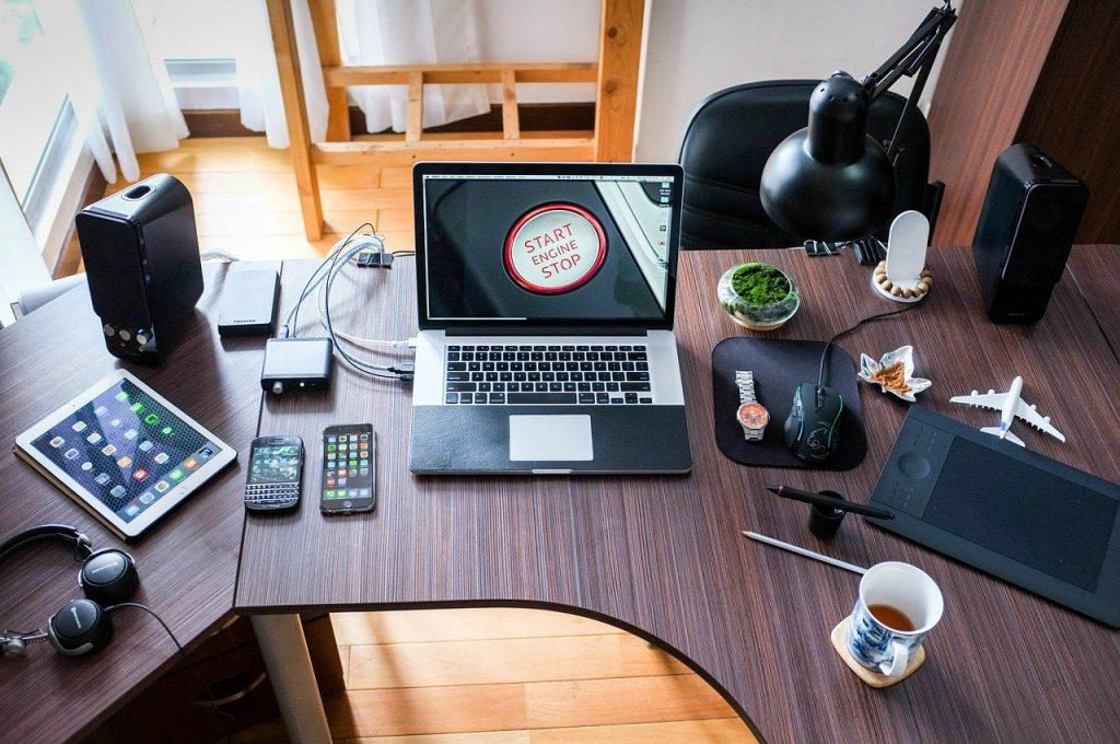 ordinateur, de travail, bureau